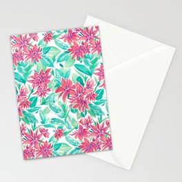 Ixora Hybrid Crimson Star Watercolor Pattern Stationery Cards