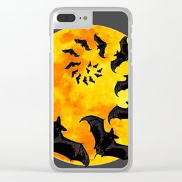 HALLOWEEN BAT INFESTED HAUNTED MOON ART DESIGN Clear iPhone Case