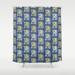 Mid Century Horse Pattern Blue Gold and Oyster Shower Curtain