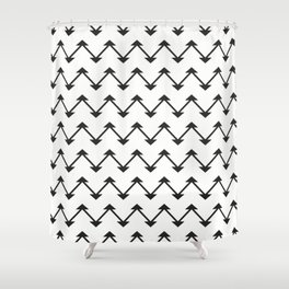 Jute in White and Black Shower Curtain