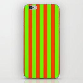 Super Bright Neon Orange and Green Vertical Beach Hut Stripes iPhone Skin