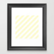 Diagonal Stripes (Cream/White) Framed Art Print