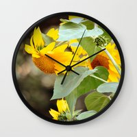 sunflowers Wall Clocks featuring SUNFLOWERS :) by Teresa Chipperfield Studios