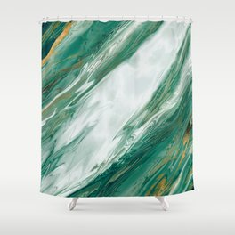 Emerald Jade Green Gold Accented Painted Marble Shower Curtain
