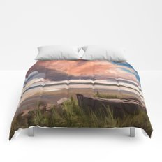 Sunrise over the lake Comforters