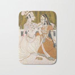 Krishna and Radha (painting c. 1750) Bath Mat