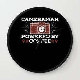 CAMERAAN POWERED BY COFFEE CAMERAWOMAN Wall Clock