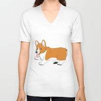 corgi V-neck T-shirts featuring Corgi by Leslie Pierrot