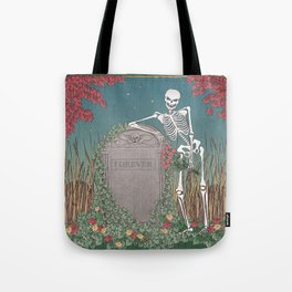 Skeleton Leaning on Grave Tote Bag