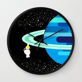 Space Odyssey | Astronaut & Planet | Space | Saturn | Galaxy | pulps of wood Wall Clock