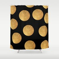 polkadot Shower Curtains featuring GOLD POLKADOT 1 by wlydesign