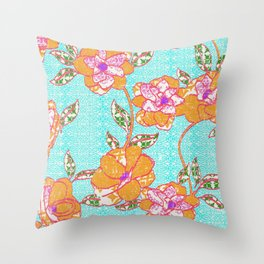 Crayon Bright Orange Flowers on Turquoise Throw Pillow
