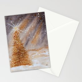 Magical Gold Christmas Tree in Snowy Night Watercolor Stationery Cards