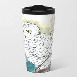 Snowy Owl Watercolor Metal Travel Mug