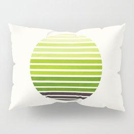 Sap Green Mid Century Modern Minimalist Scandinavian Colorful Stripes Geometric Pattern Round Circle Pillow Sham