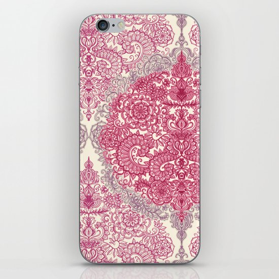 Happy Place Doodle in Berry Pink, Cream & Mauve iPhone & iPod Skin