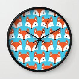 Cute Woodland Fox Pattern Design / Blue Wall Clock