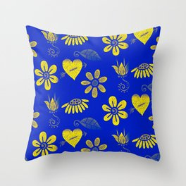 Yellow and Blue Floral Pattern Throw Pillow