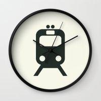 train Wall Clocks featuring Train by Alejandro Díaz