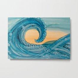 Nalu Alcohol Ink Wave Painting Metal Print