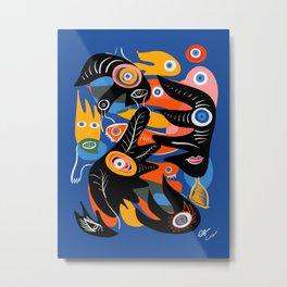 Black Nature Spirits in the Blue Night   Metal Print