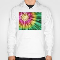tie dye Hoodies featuring Abstract Green Tie Dye by Phil Perkins