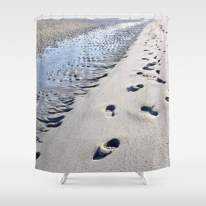 imprints on the beach Shower Curtain