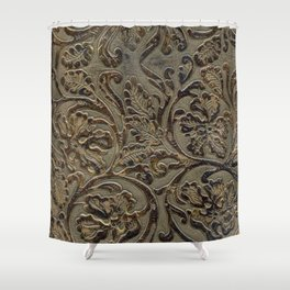 Olive & Brown Tooled Leather Shower Curtain