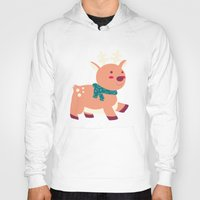reindeer Hoodies featuring Reindeer by Claire Lordon