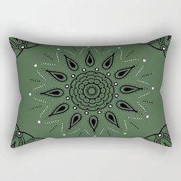 Central Mandala Jade Green Rectangular Pillow