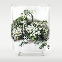 Vintage Lily of the Valley Flower Basket Shower Curtain