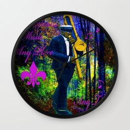 NEW ORLEANS JAZZ TROMBONE LET THE GOOD TIMES ROLL!! Wall Clock