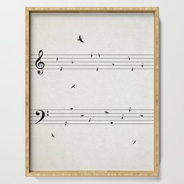 Music Score with Birds Serving Tray