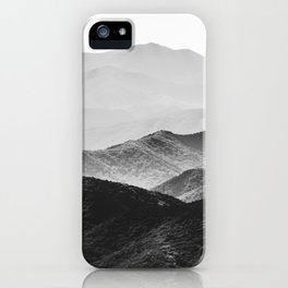 Glimpse - Black and White Mountains Landscape Nature Photography iPhone Case
