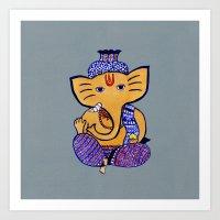 ganesha Art Prints featuring Ganesha by Vanya