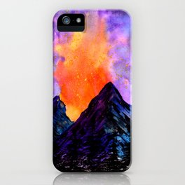 Volcanic Eruption at Night iPhone Case