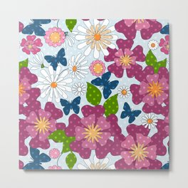 Colorful floral pattern . Retro. Metal Print
