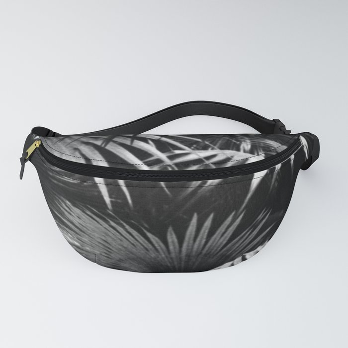 Tropical Botanic Jungle Garden Palm Leaf Black And White Fanny Pack
