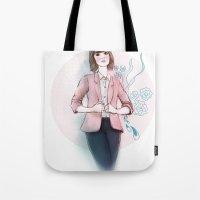 peach Tote Bags featuring Peach by missjosh
