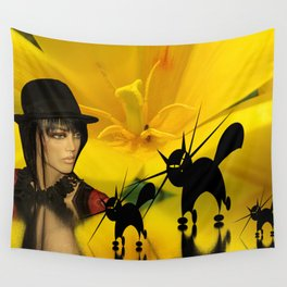 look into a yellow tulip Wall Tapestry