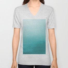 Aqua Teal Turquoise Watercolor Ombre Gradient Blend Abstract Art - Aquarium SW 6767 Unisex V-Neck