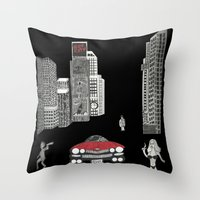 sin city Throw Pillows featuring sin city by Carmit Levy