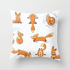 Fox in Winter Wonderland Print Decor Throw Pillow