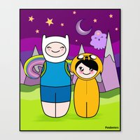 finn and jake Canvas Prints featuring Kokeshis Finn&Jake by Pendientera