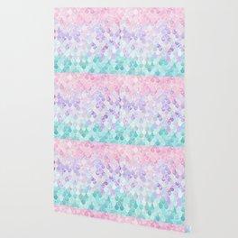 Cute Mermaid Pattern, Light Pink, Purple, Teal Wallpaper