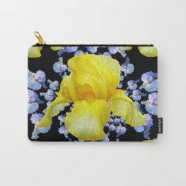 YELLOW & BLUE-WHITE IRIS BLACK ABSTRACT PATTERN Carry-All Pouch