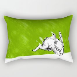 Green over White (and One Rabbit) Rectangular Pillow