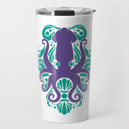 Damask Squid Aqua Violet Travel Mug