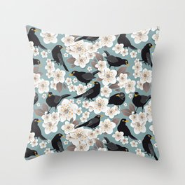 Waiting for the cherries I // Blackbirds blue background Throw Pillow