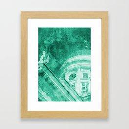 Vintage Helsinki Teal Framed Art Print